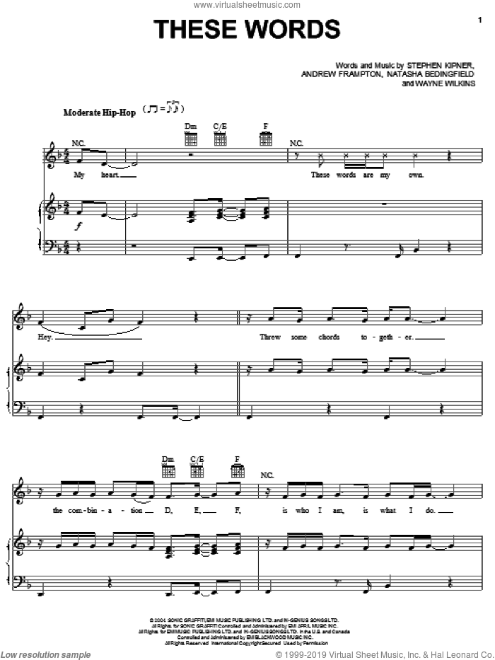 These Words sheet music for voice, piano or guitar by Natasha Bedingfield, Andrew Frampton, Steve Kipner and Wayne Wilkins, intermediate skill level