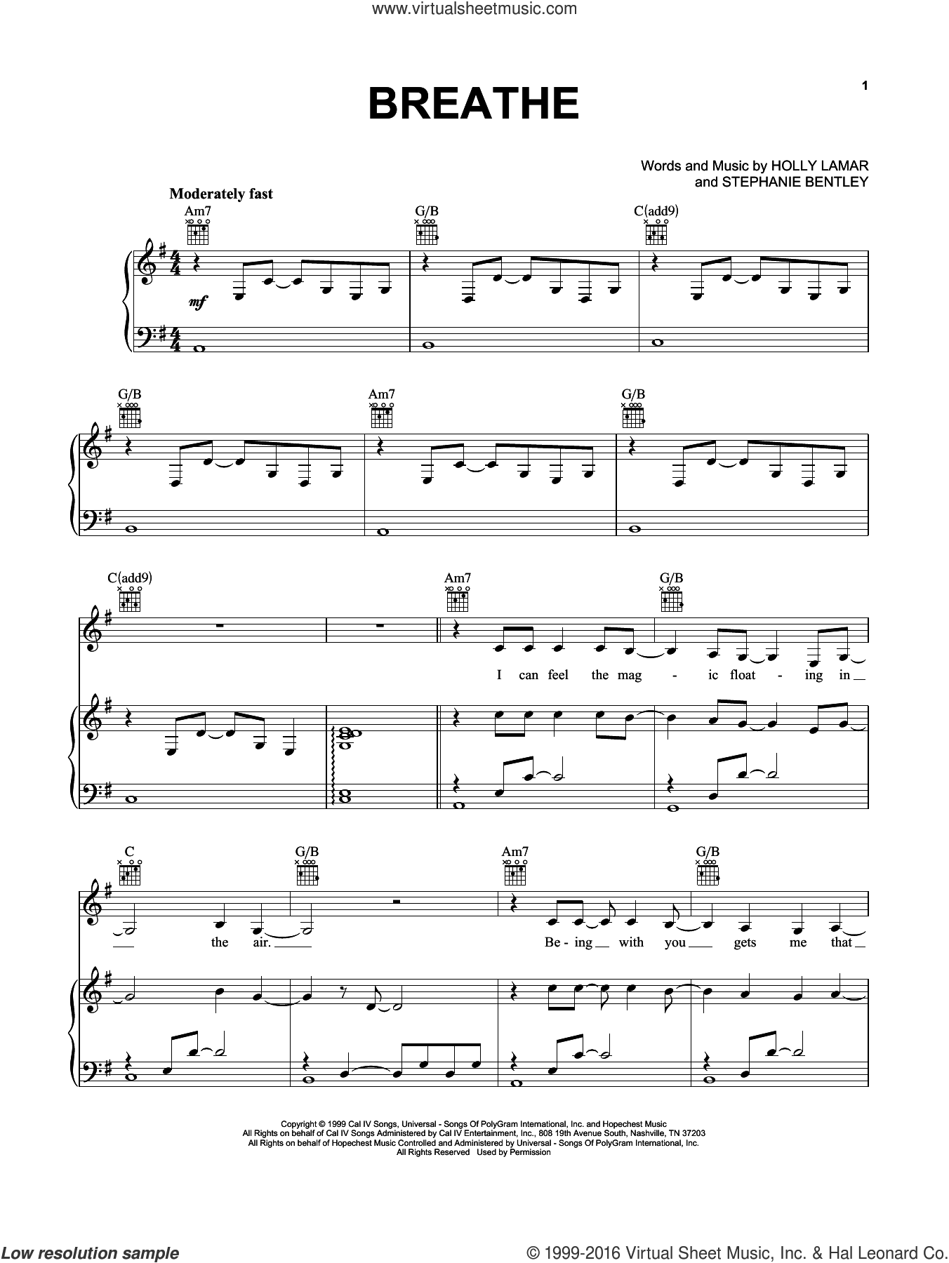 Breathe sheet music for voice, piano or guitar by Faith Hill, Holly Lamar and Stephanie Bentley, intermediate skill level