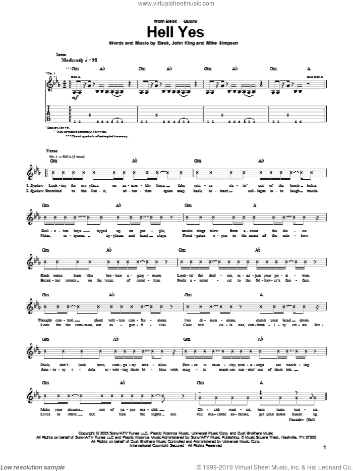 Hell Yes sheet music for guitar (tablature) by Mike Simpson, Beck Hansen and John King. Score Image Preview.