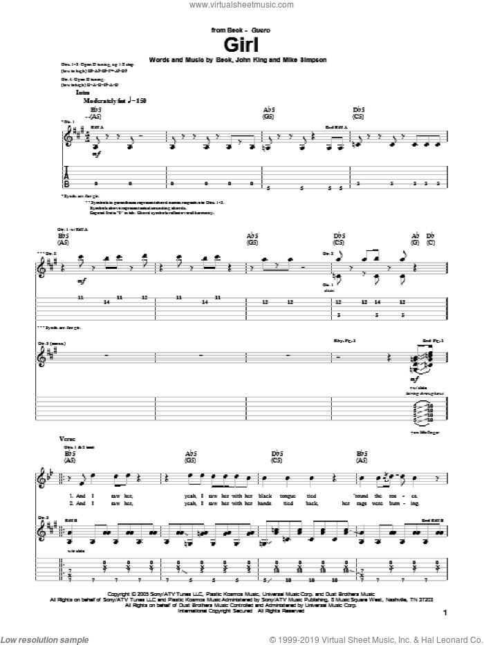 Girl sheet music for guitar (tablature) by Mike Simpson