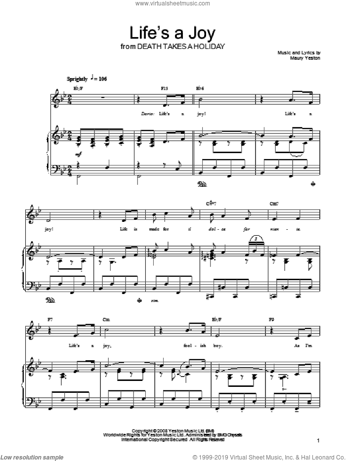 Life's A Joy sheet music for voice, piano or guitar by Maury Yeston and Death Takes A Holiday (Musical), intermediate skill level
