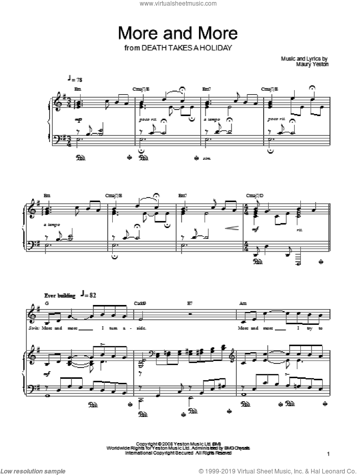 More And More sheet music for voice, piano or guitar by Maury Yeston and Death Takes A Holiday (Musical), intermediate skill level