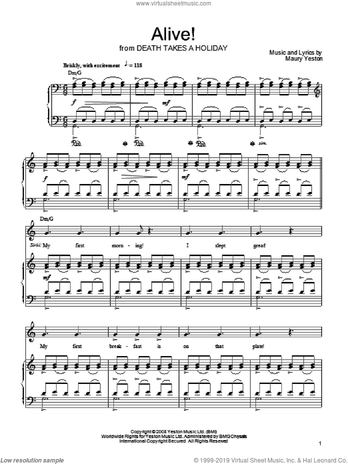 Alive! sheet music for voice, piano or guitar by Maury Yeston