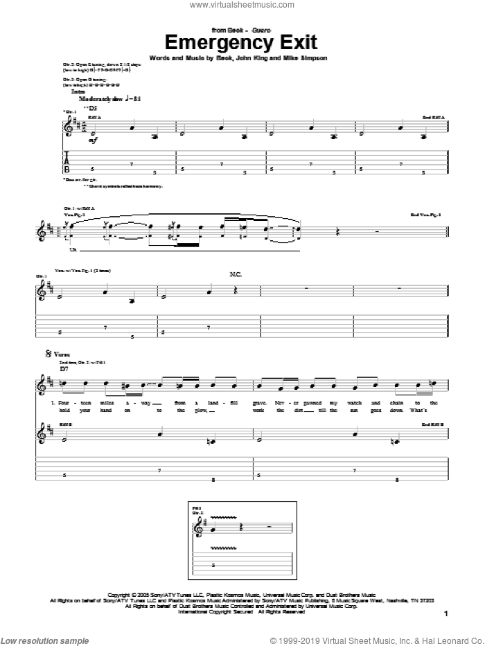 Emergency Exit sheet music for guitar (tablature) by Mike Simpson, Beck Hansen and John King. Score Image Preview.