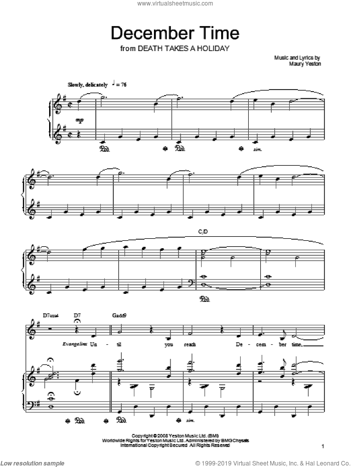 December Time sheet music for voice, piano or guitar by Maury Yeston. Score Image Preview.