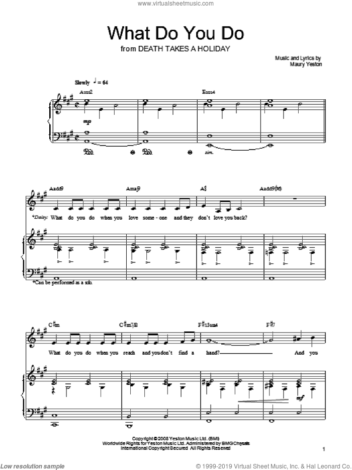 What Do You Do sheet music for voice, piano or guitar by Maury Yeston and Death Takes A Holiday (Musical), intermediate skill level