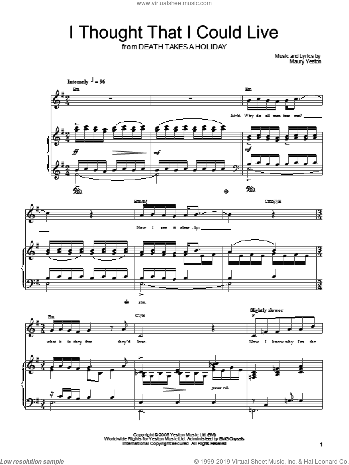 I Thought That I Could Live sheet music for voice, piano or guitar by Maury Yeston and Death Takes A Holiday (Musical), intermediate skill level