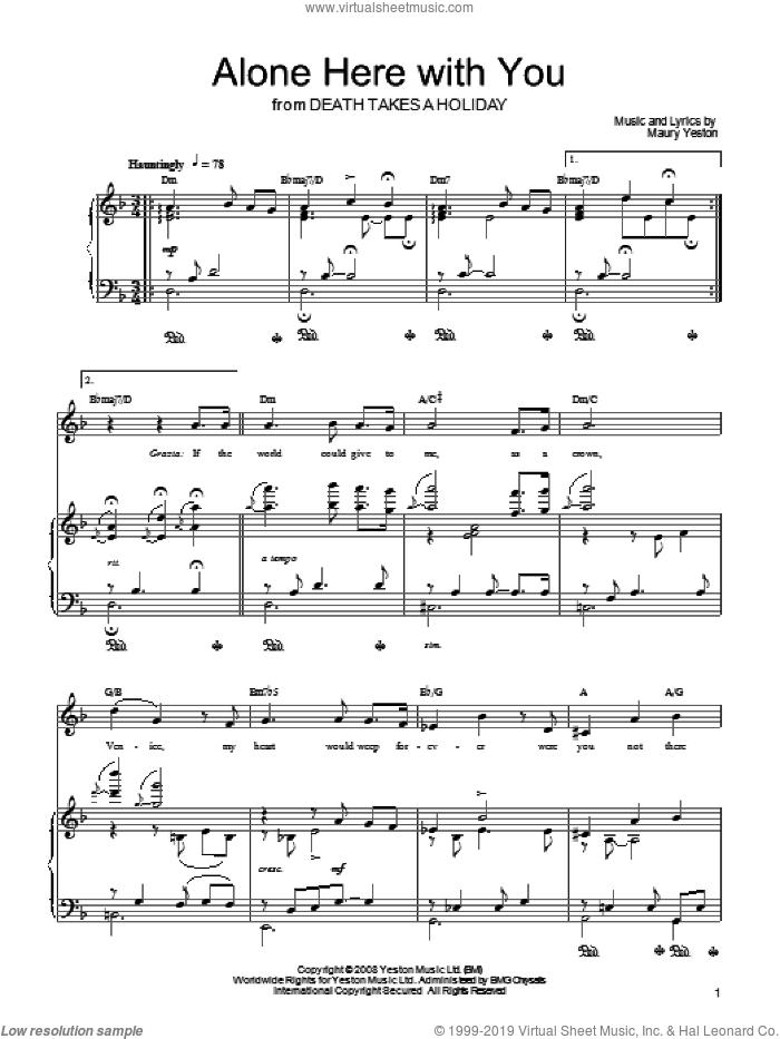 Alone Here With You sheet music for voice, piano or guitar by Maury Yeston and Death Takes A Holiday (Musical), intermediate skill level
