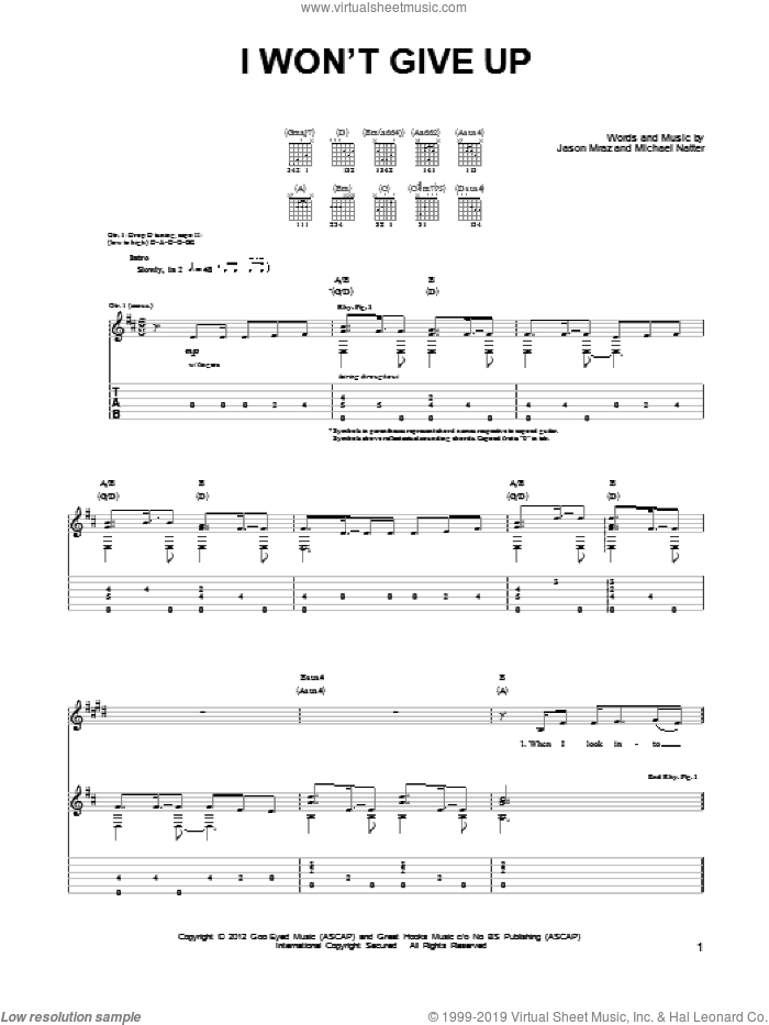 I Won't Give Up sheet music for guitar (tablature) by Jason Mraz. Score Image Preview.