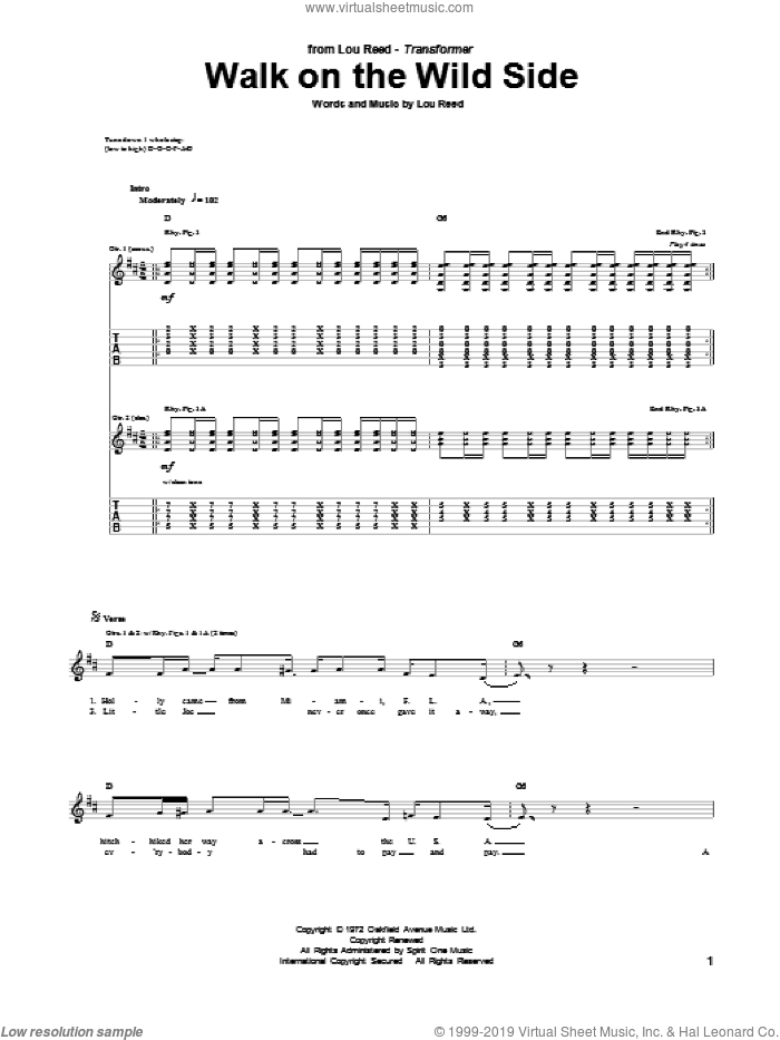 Walk On The Wild Side sheet music for guitar (tablature) by Lou Reed. Score Image Preview.