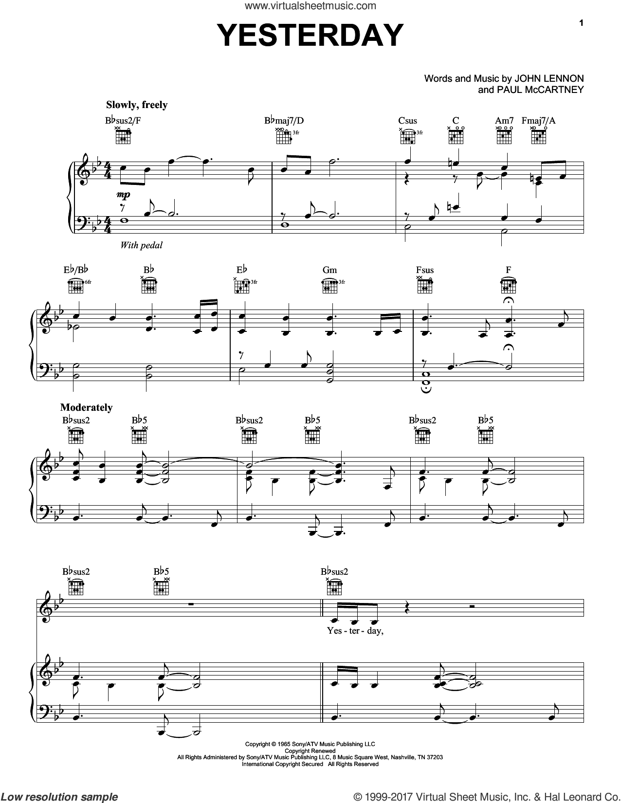 Yesterday sheet music for voice, piano or guitar by Neil Diamond, John Lennon and Paul McCartney, intermediate skill level
