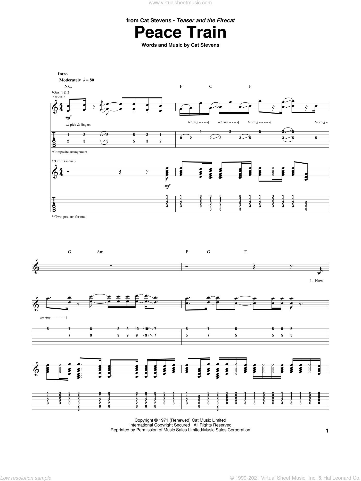 Peace Train sheet music for guitar (tablature) by Cat Stevens. Score Image Preview.