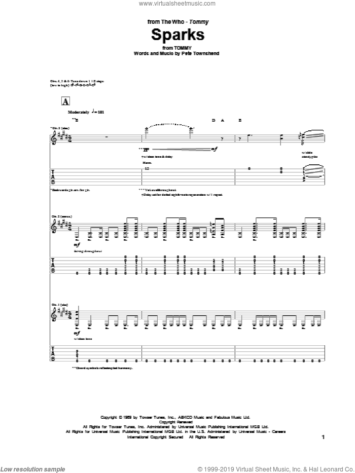 Sparks sheet music for guitar (tablature) by The Who and Pete Townshend. Score Image Preview.