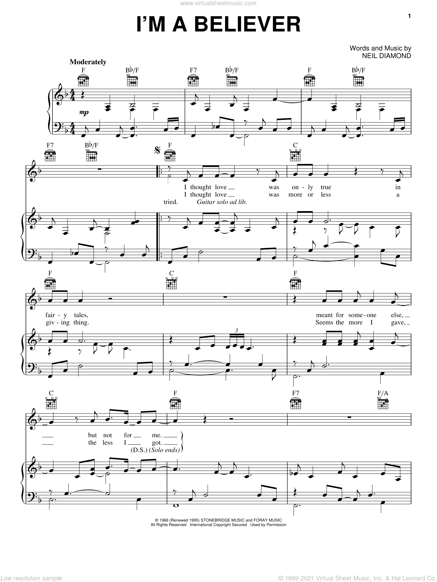 I'm A Believer sheet music for voice, piano or guitar by Neil Diamond, intermediate skill level