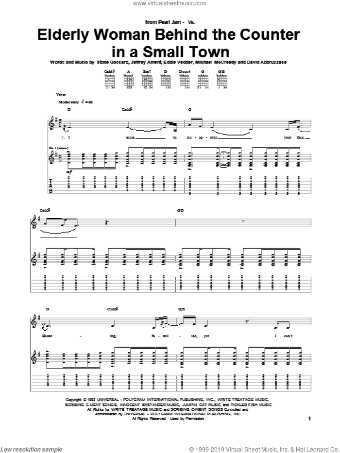 Elderly Woman Behind The Counter In A Small Town sheet music for guitar (tablature) by Pearl Jam and Eddie Vedder, intermediate guitar (tablature). Score Image Preview.
