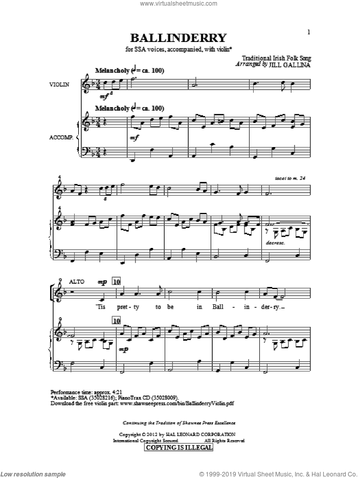 Ballinderry sheet music for choir (SSA: soprano, alto) by Jill Gallina, intermediate skill level