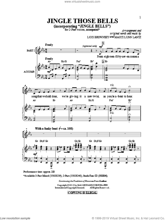 Jingle Those Bells sheet music for choir (2-Part) by James Pierpont, Lois Brownsey and Marti Lunn Lantz, intermediate duet