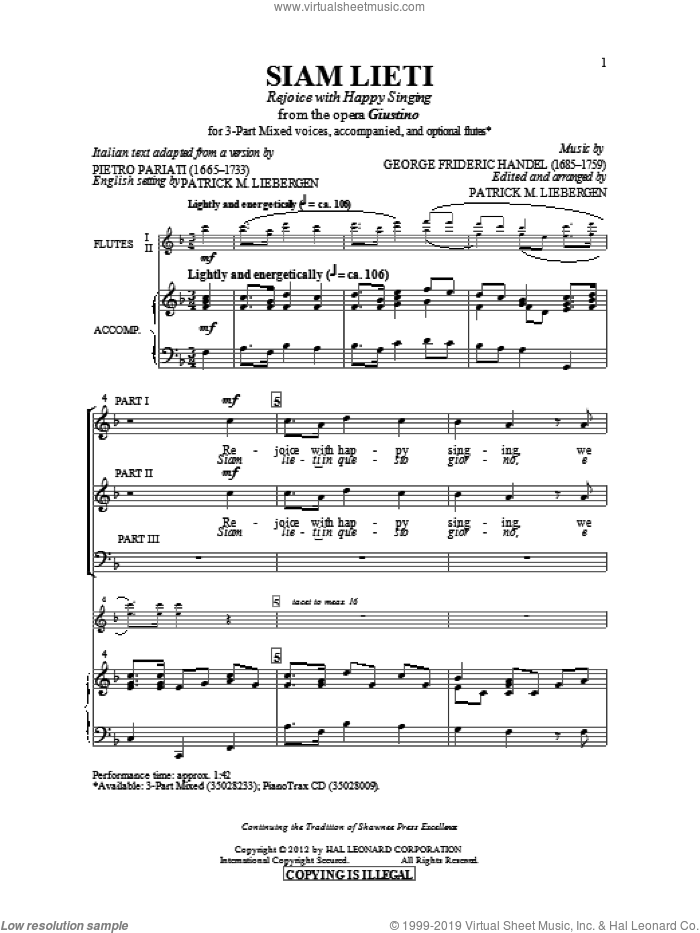 Siam Lieti (Rejoice With Happy Singing) sheet music for choir (chamber ensemble) by Patrick Liebergen. Score Image Preview.