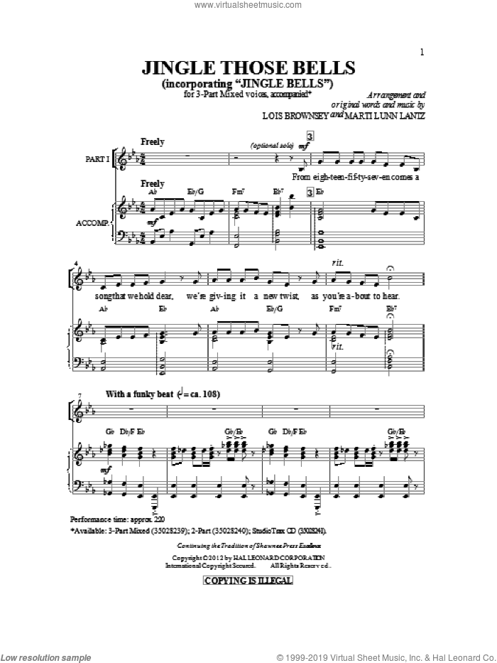 Jingle Those Bells sheet music for choir (chamber ensemble) by James Pierpont, Lois Brownsey and Marti Lunn Lantz. Score Image Preview.