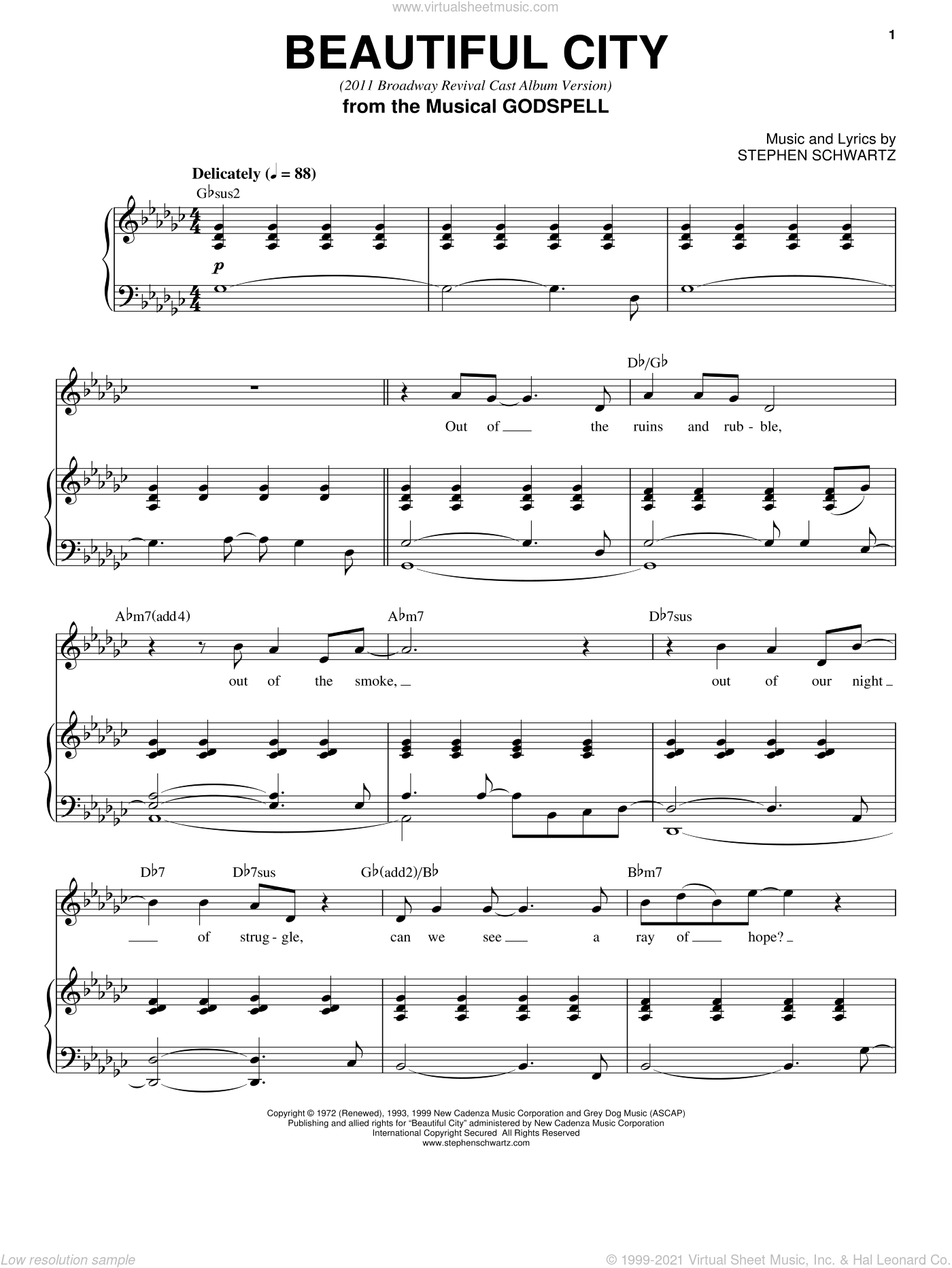 Beautiful City (2011 Broadway Revival Cast Album Version) sheet music for voice, piano or guitar by Stephen Schwartz, intermediate. Score Image Preview.