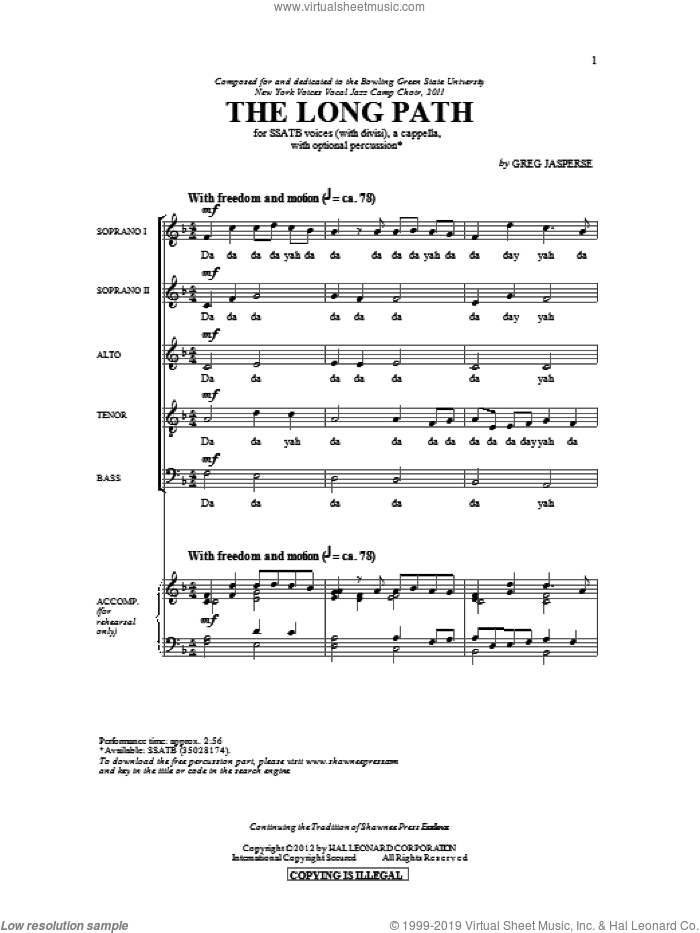 The Long Path sheet music for choir (SATB) by Greg Jasperse. Score Image Preview.