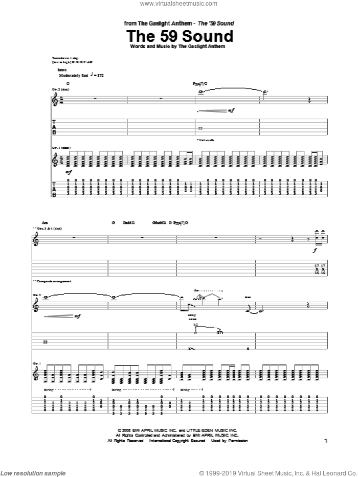 The 59 Sound sheet music for guitar (tablature) by The Gaslight Anthem. Score Image Preview.