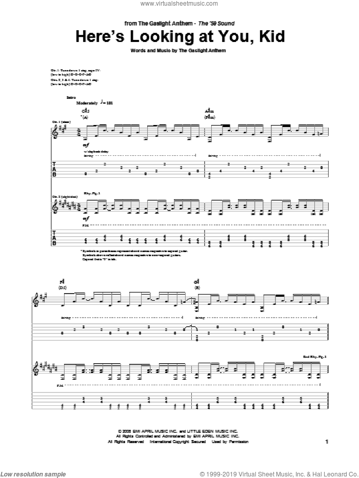 Here's Looking At You, Kid sheet music for guitar solo (tablature) by The Gaslight Anthem
