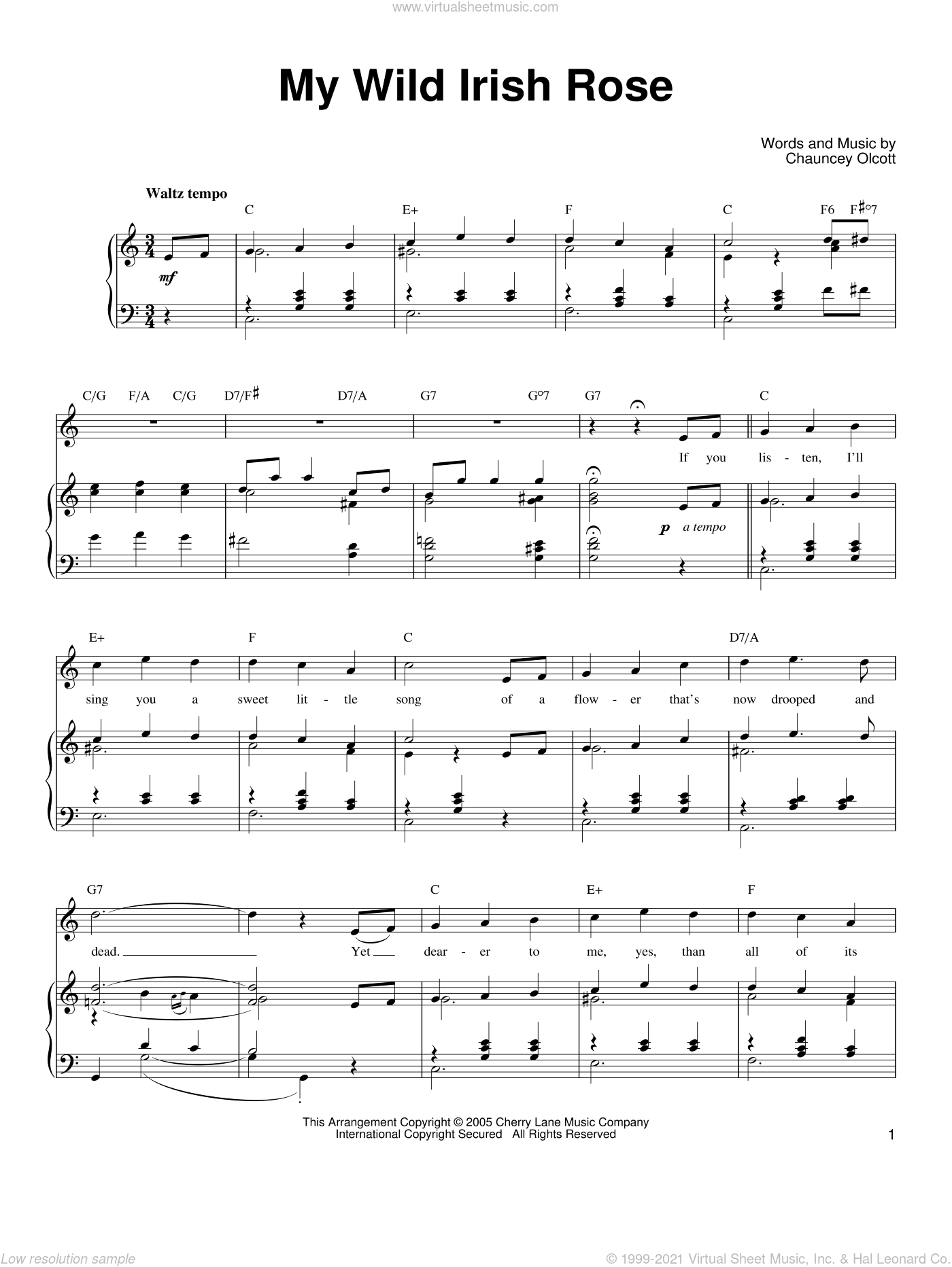 My Wild Irish Rose sheet music for voice, piano or guitar by Ronan Tynan and Chauncey Olcott, intermediate skill level