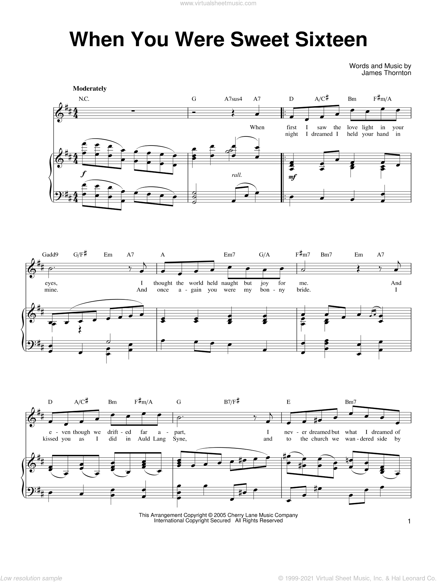 When You Were Sweet Sixteen sheet music for voice, piano or guitar by Ronan Tynan and James Thornton, classical score, intermediate skill level