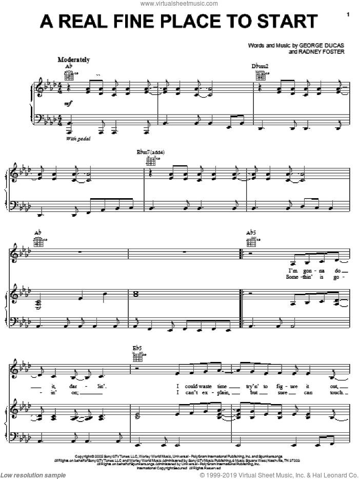 A Real Fine Place To Start sheet music for voice, piano or guitar by Sara Evans, George Ducas and Radney Foster, intermediate skill level
