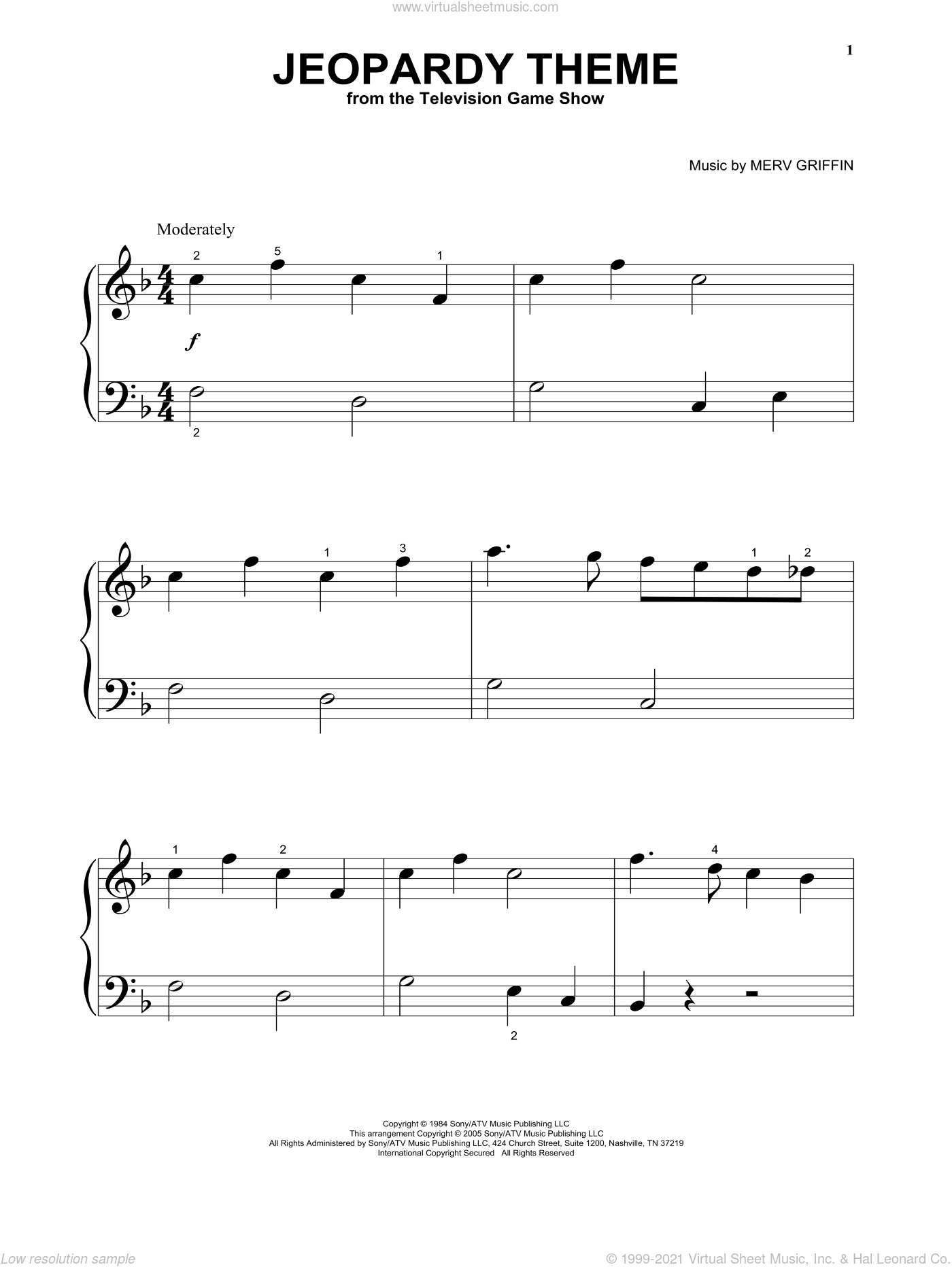Jeopardy Theme sheet music for piano solo (big note book) by Merv Griffin, easy piano (big note book). Score Image Preview.