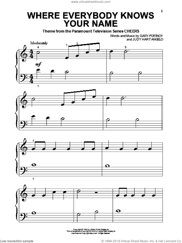 Where Everybody Knows Your Name sheet music for piano solo (big note book) by Judy Hart Angelo