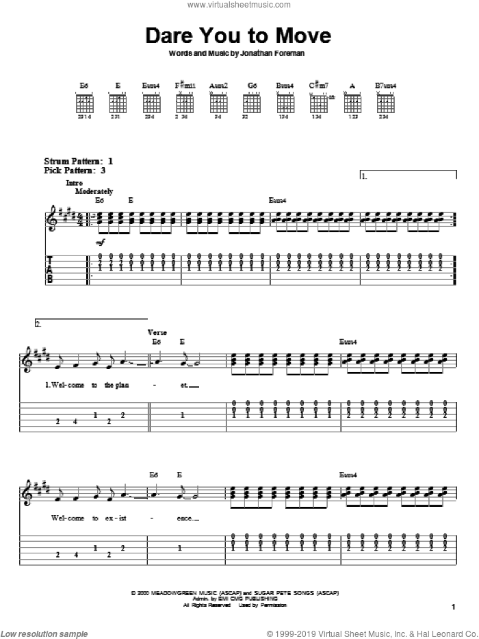 Dare You To Move sheet music for guitar solo (easy tablature) by Jonathan Foreman. Score Image Preview.
