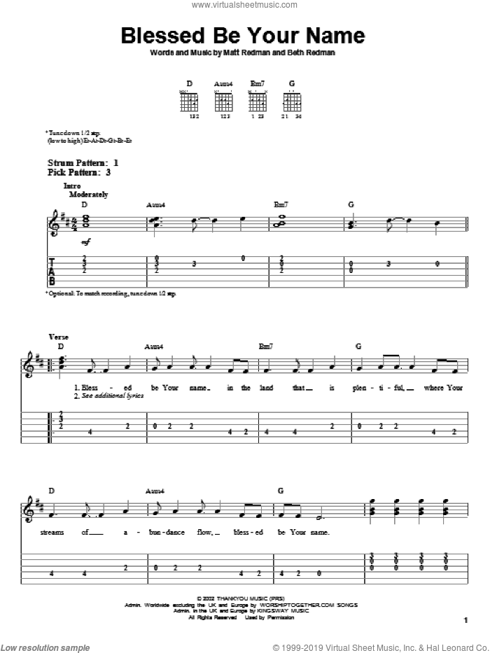 Blessed Be Your Name sheet music for guitar solo (easy tablature) by Matt Redman and Beth Redman. Score Image Preview.