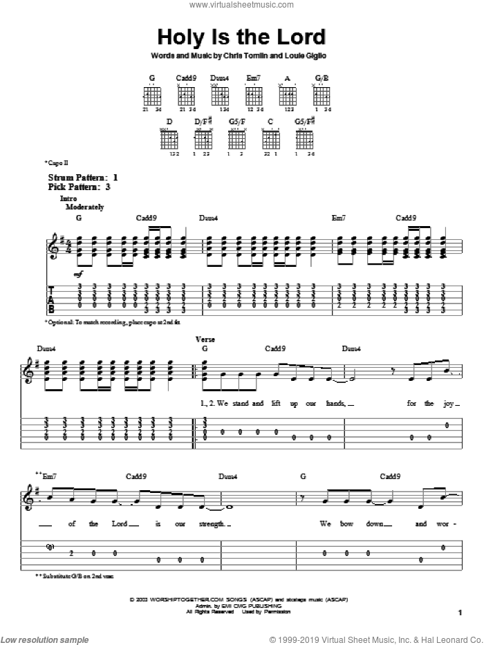 Holy Is The Lord sheet music for guitar solo (easy tablature) by Chris Tomlin and Bethany Dillon, easy guitar (easy tablature). Score Image Preview.