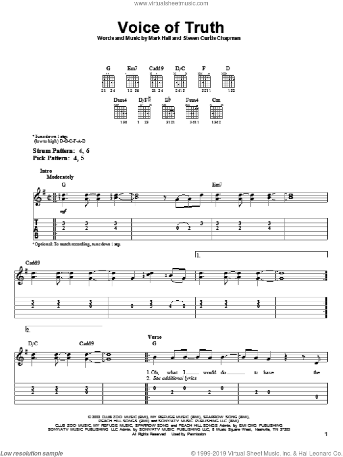 Voice Of Truth sheet music for guitar solo (easy tablature) by Casting Crowns, Mark Hall and Steven Curtis Chapman, easy guitar (easy tablature)