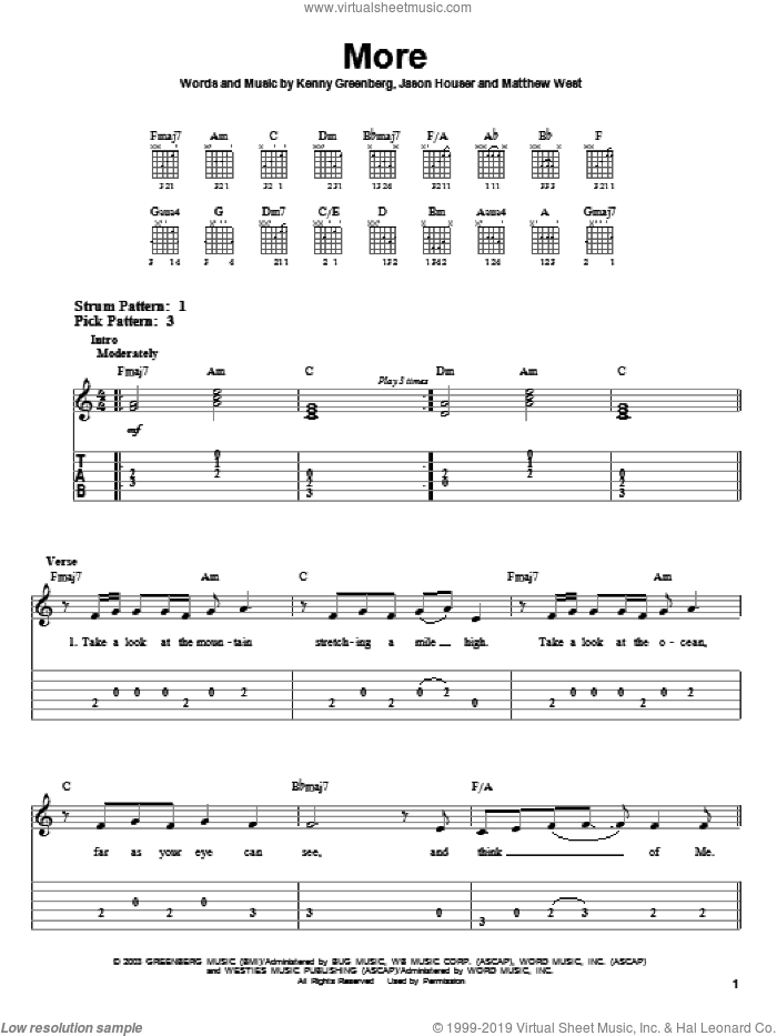 More sheet music for guitar solo (easy tablature) by Matthew West and Kenny Greenberg, easy guitar (easy tablature). Score Image Preview.