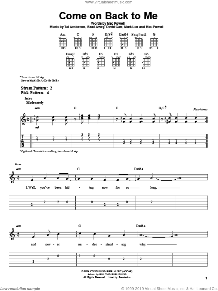Come On Back To Me sheet music for guitar solo (easy tablature) by Third Day, Brad Avery, David Carr, Mac Powell, Mark Lee and Tai Anderson, easy guitar (easy tablature)