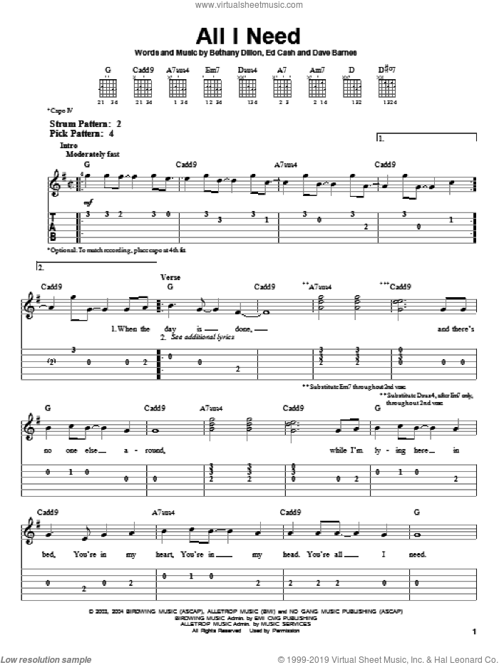 All I Need sheet music for guitar solo (easy tablature) by Ed Cash, Bethany Dillon and Dave Barnes. Score Image Preview.