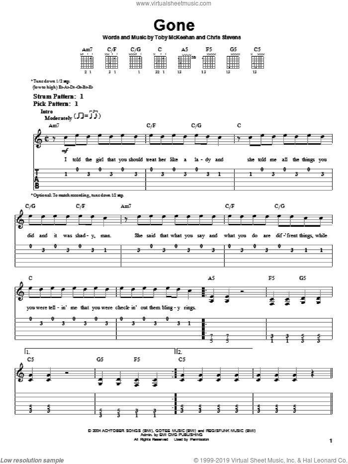 Gone sheet music for guitar solo (easy tablature) by tobyMac, Chris Stevens and Toby McKeehan, easy guitar (easy tablature)