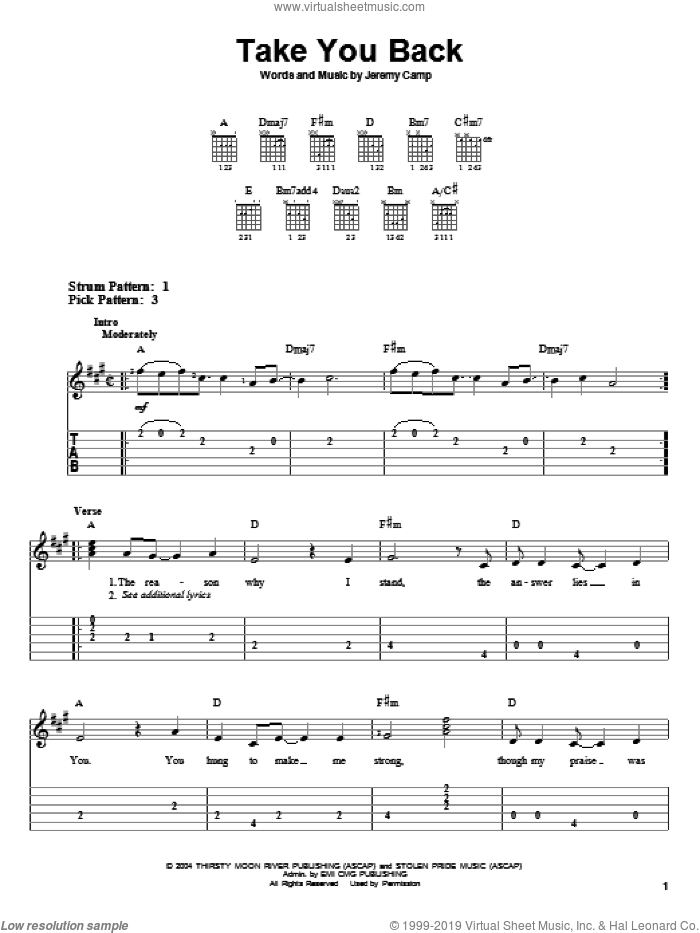 Take You Back sheet music for guitar solo (easy tablature) by Jeremy Camp, easy guitar (easy tablature)