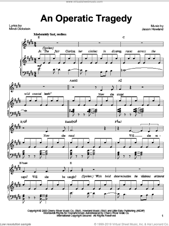 An Operatic Tragedy sheet music for voice, piano or guitar by Mindi Dickstein, Little Women (Musical) and Jason Howland, intermediate skill level