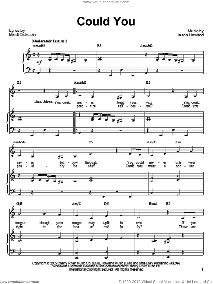 Could You sheet music for voice, piano or guitar by Jason Howland and Mindi Dickstein. Score Image Preview.