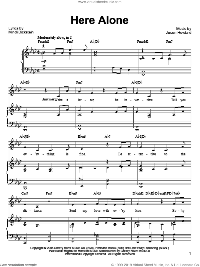 Here Alone sheet music for voice, piano or guitar by Jason Howland