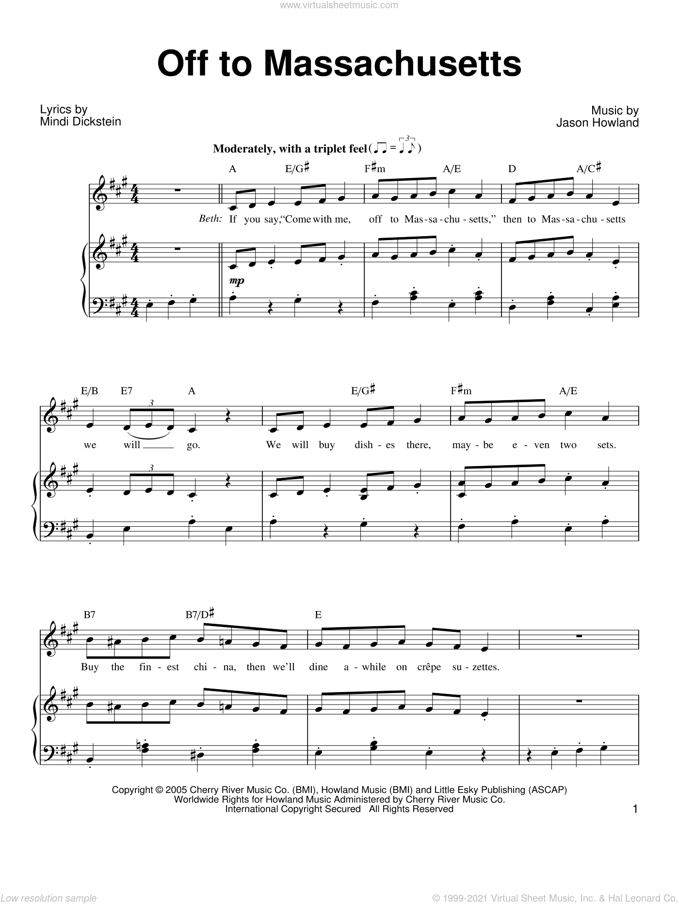 Off To Massachusetts sheet music for voice, piano or guitar by Mindi Dickstein, intermediate. Score Image Preview.