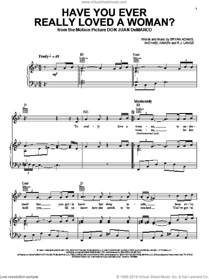 Have You Ever Really Loved A Woman? sheet music for voice, piano or guitar by Bryan Adams, Michael Kamen and Robert John Lange. Score Image Preview.