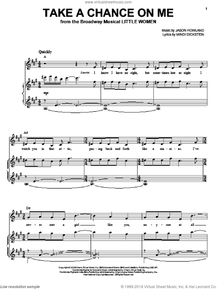Take A Chance On Me sheet music for voice, piano or guitar by Jason Howland and Mindi Dickstein. Score Image Preview.