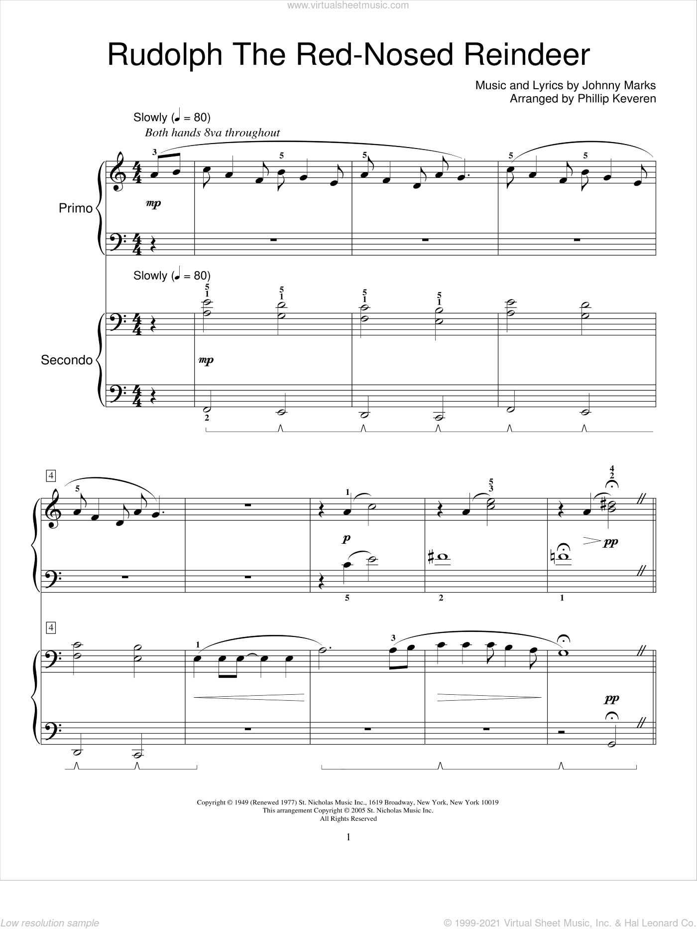 Rudolph The Red-Nosed Reindeer (arr. Eugenie Rocherolle) sheet music for piano four hands by Johnny Marks, Phillip Keveren and Miscellaneous, intermediate skill level