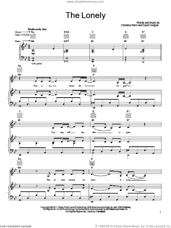 The Lonely sheet music for voice, piano or guitar by David Hodges and Christina Perri. Score Image Preview.