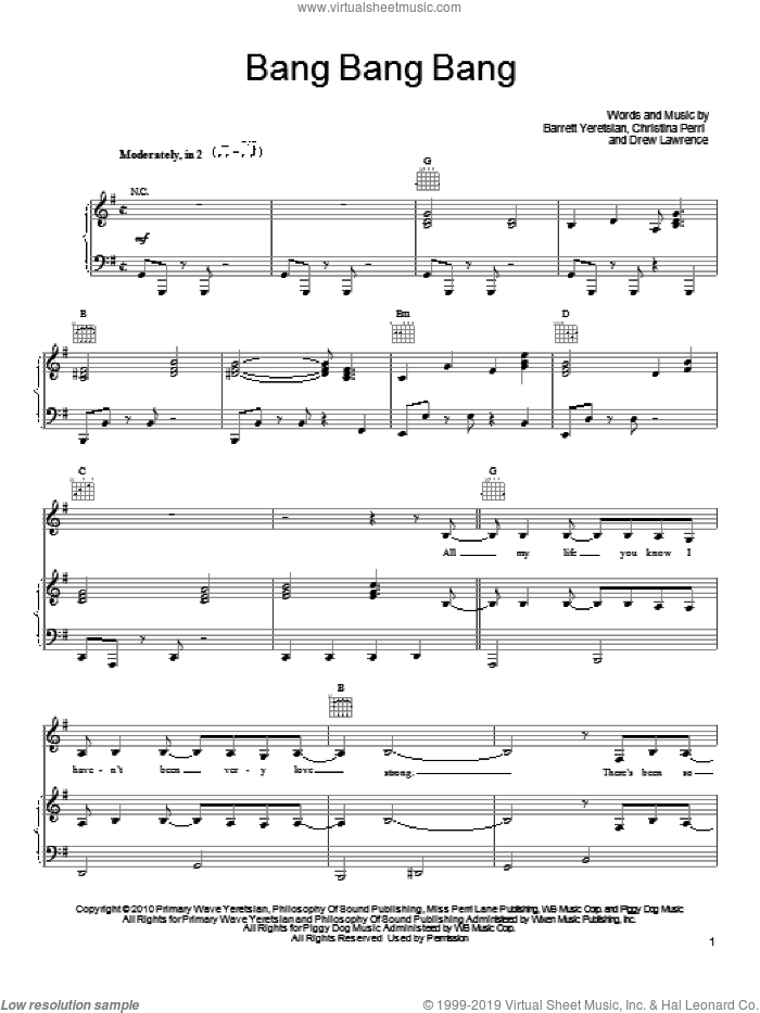 Bang Bang Bang sheet music for voice, piano or guitar by Christina Perri, Barrett Yeretsian and Drew Lawrence, intermediate skill level